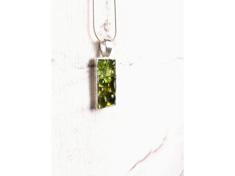 Olivine green glass droplet pendant